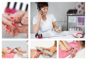 Collage of nail salon situations with manicures pedicures and reception desk